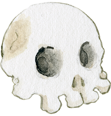 Simple drawing of a skull. Click to read about Naomi