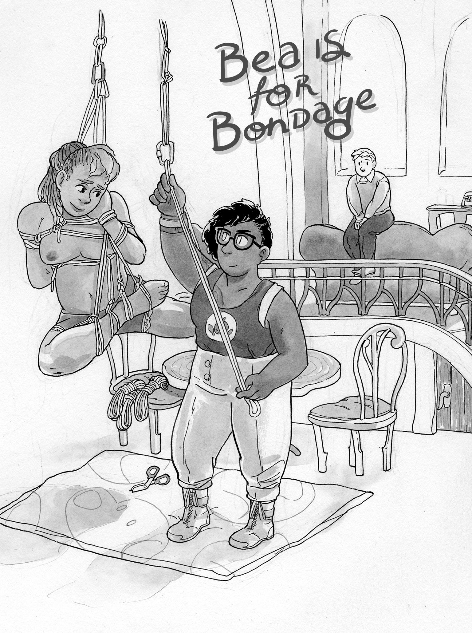 Splash image of Bea for Bondage story, with Nella hoisting someone in bondage while Bea watches from afar